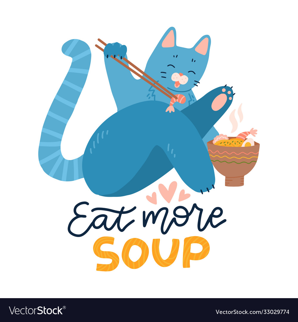 Cat eating ramen noodle kitten logo mascot