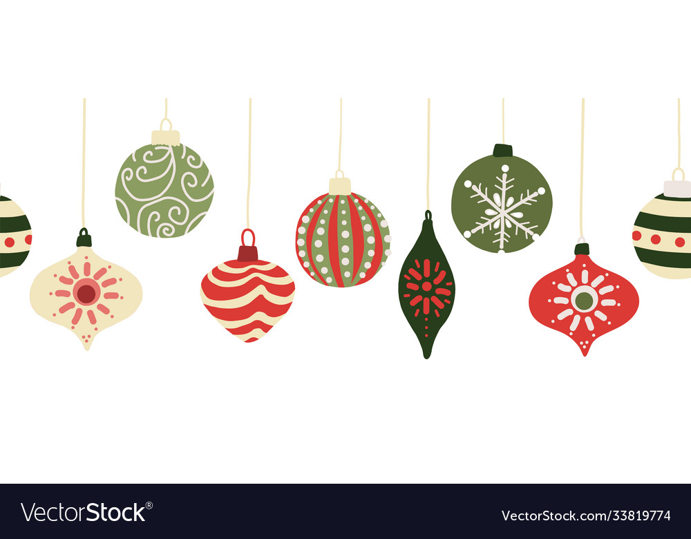 Christmas baubles seamless border