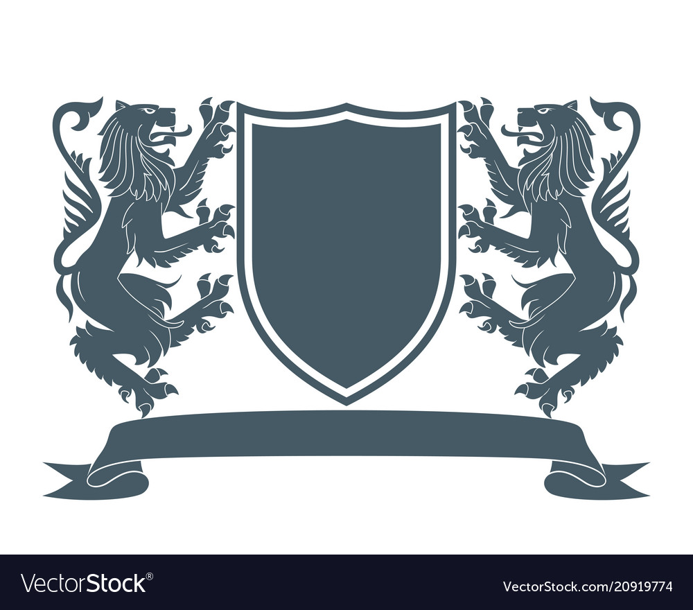 Coat of arms lion 2 vector image