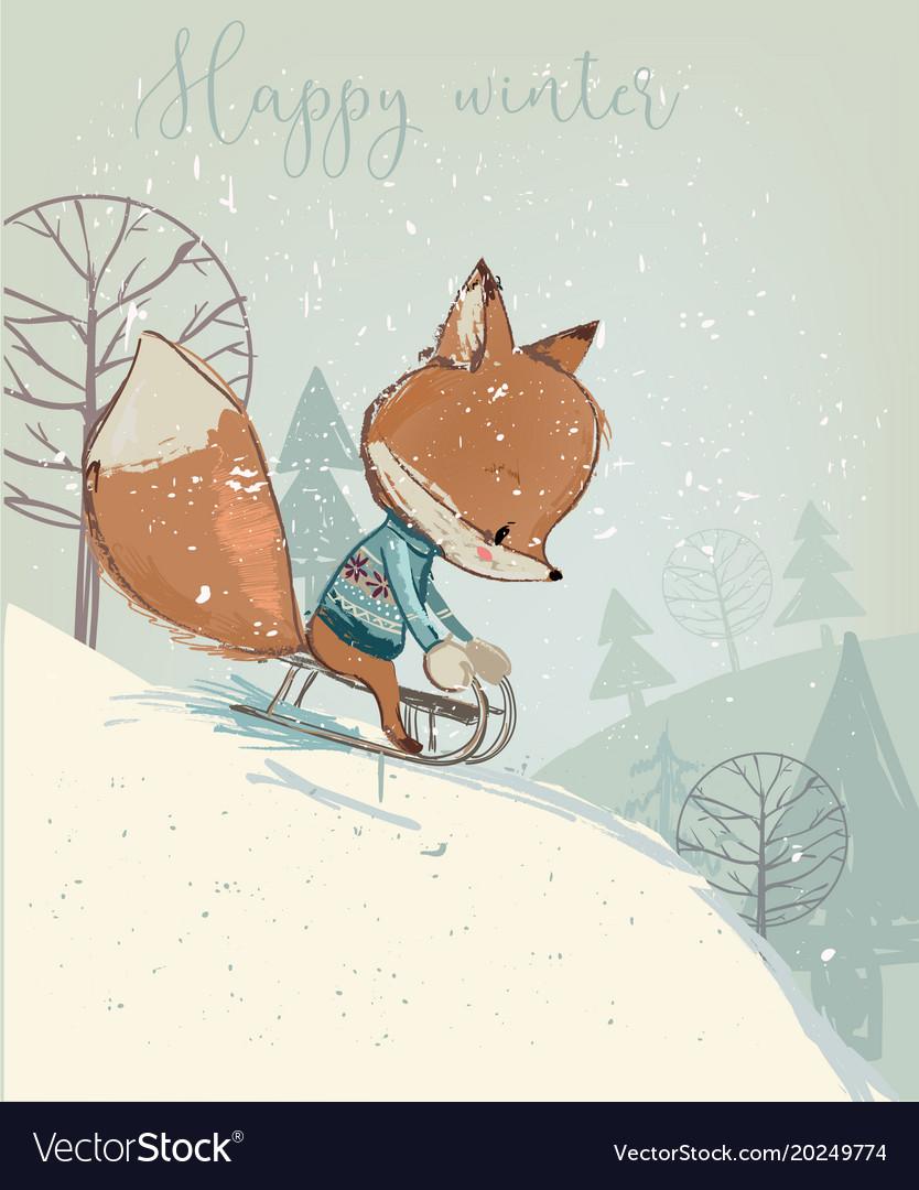 Cute fox on sleigh