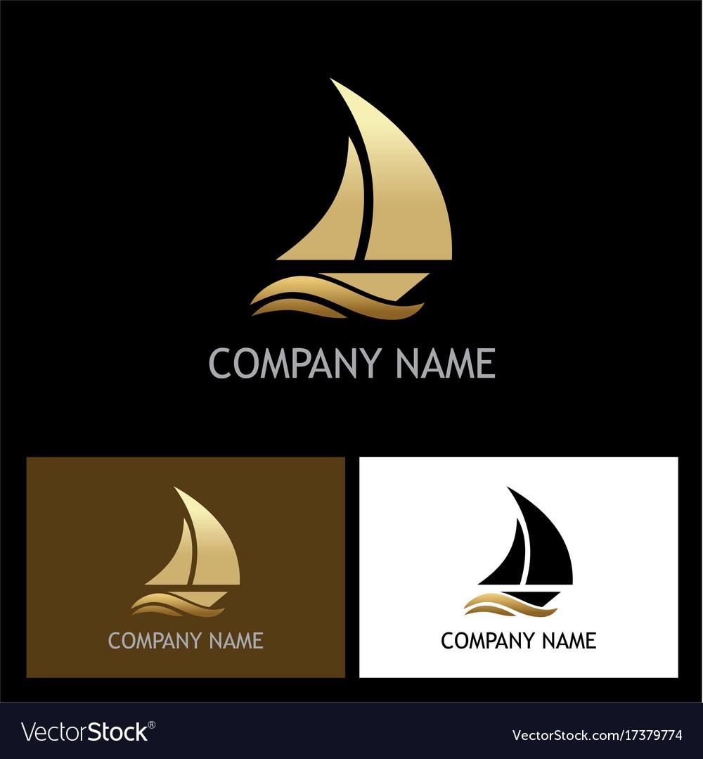Gold yacht boat logo