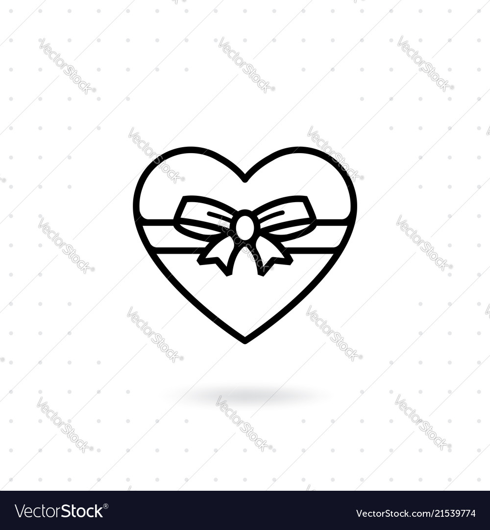 Heart gift box icon