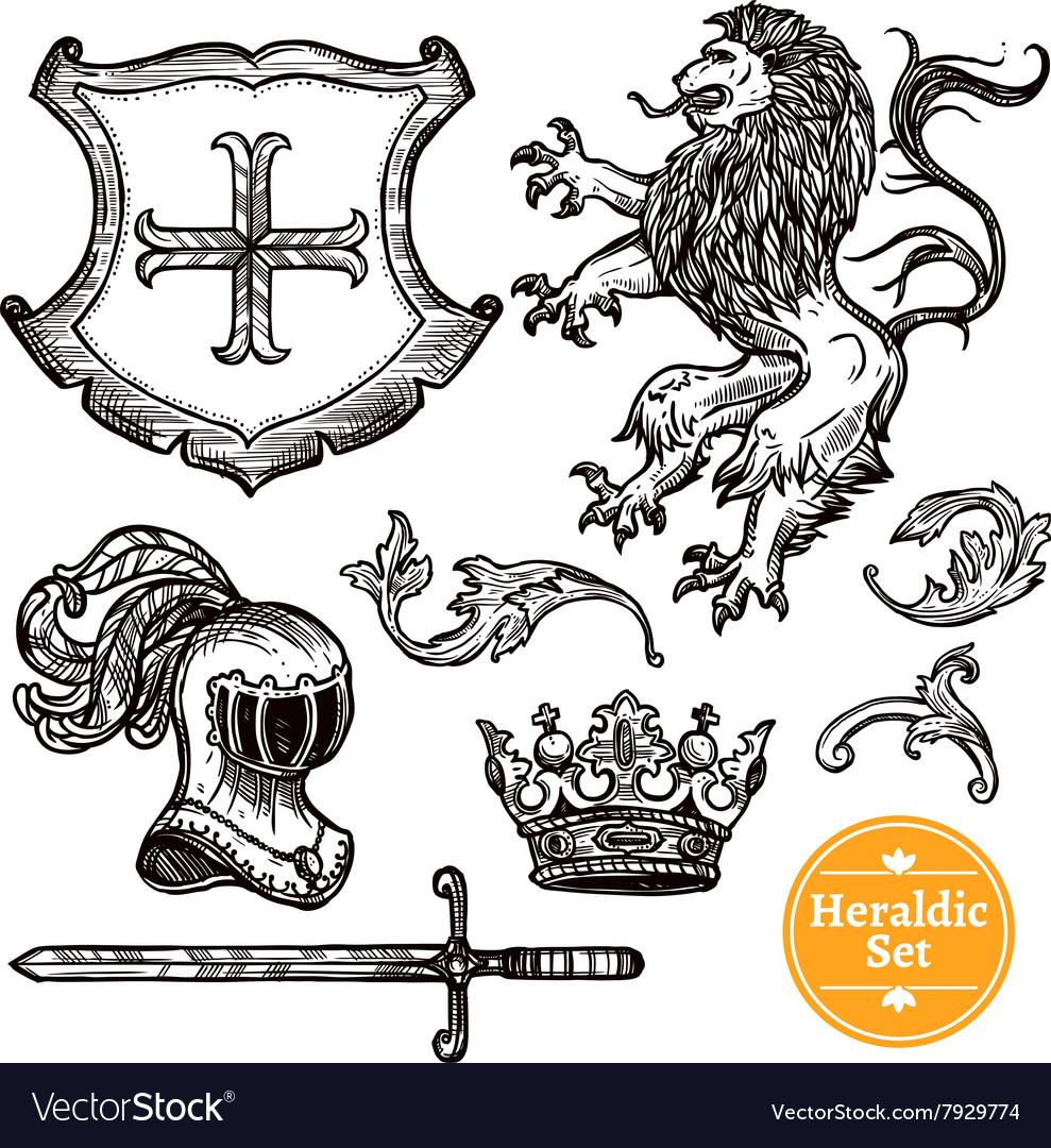 Heraldic Symbols Set Black Doodle Sketch