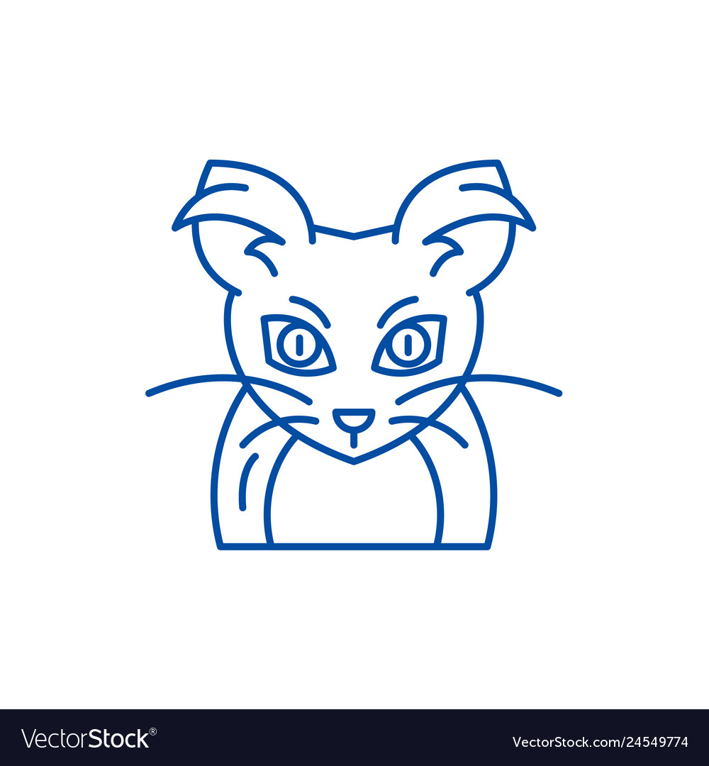 Monster mouse line icon concept monster mouse
