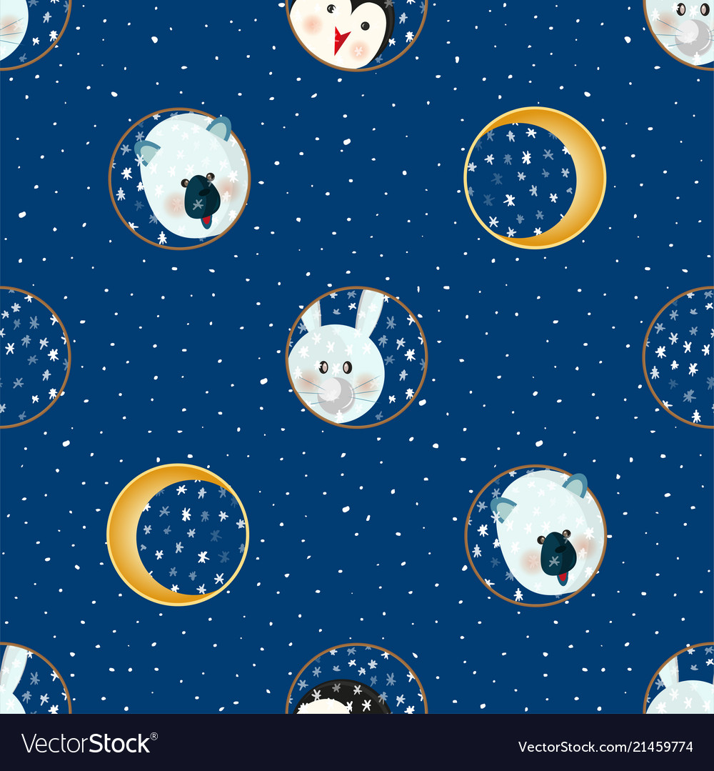 Seamless pattern with animal cartoon flat labels