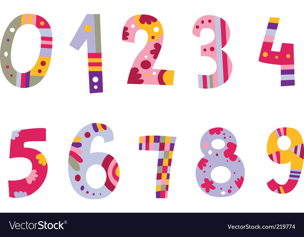 Set of cute numbers vector image