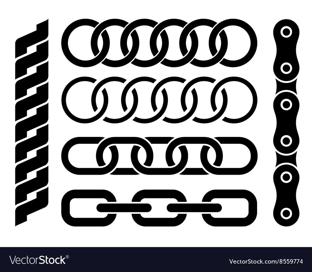 Set of different chain parts on white background