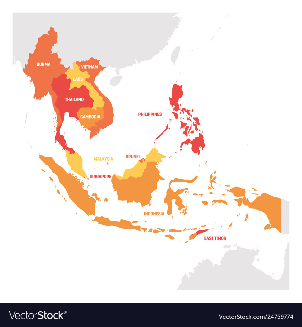 Country Map Of Southeast Asia.Southeast Asia Region Map Countries In Royalty Free Vector