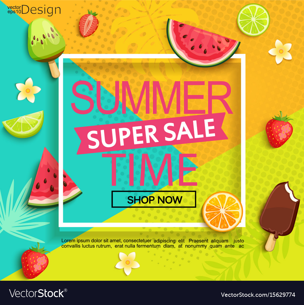 Summer super sale banner with fruits