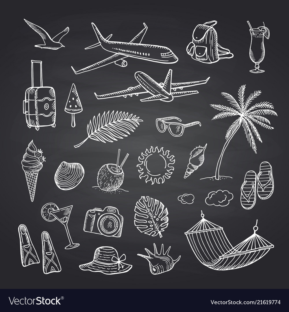 Summer travel elements on black chalkboard