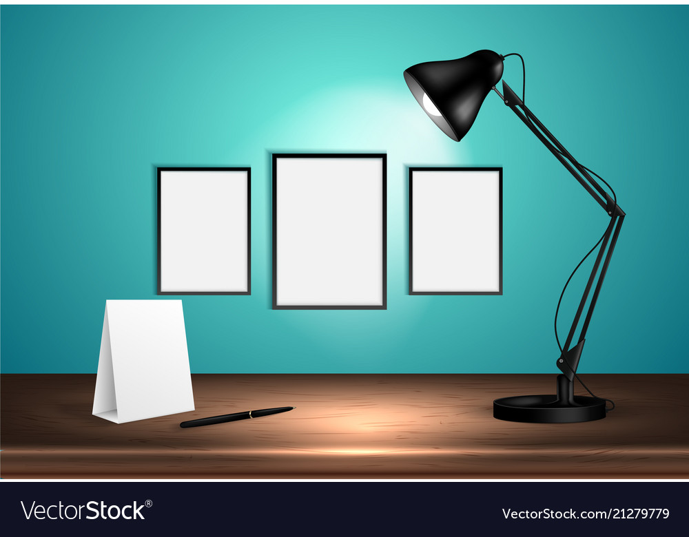 3d desk lamp on wooden table lights up empty