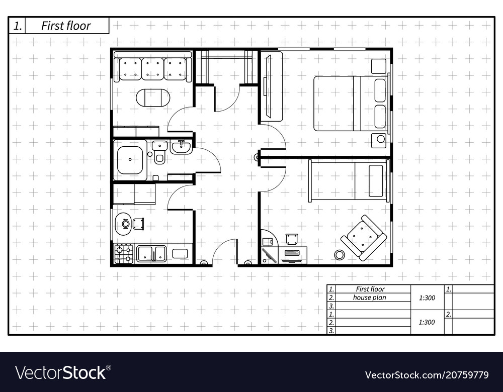 Black architecture plan of house in blueprint