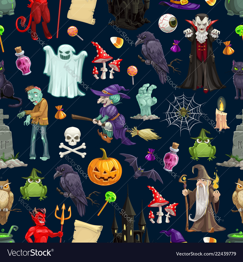 Halloween holiday monsters seamless pattern