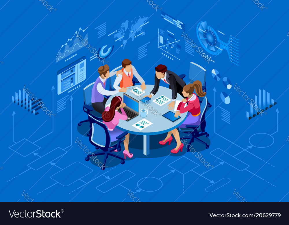 Isometric people team management concept vector image