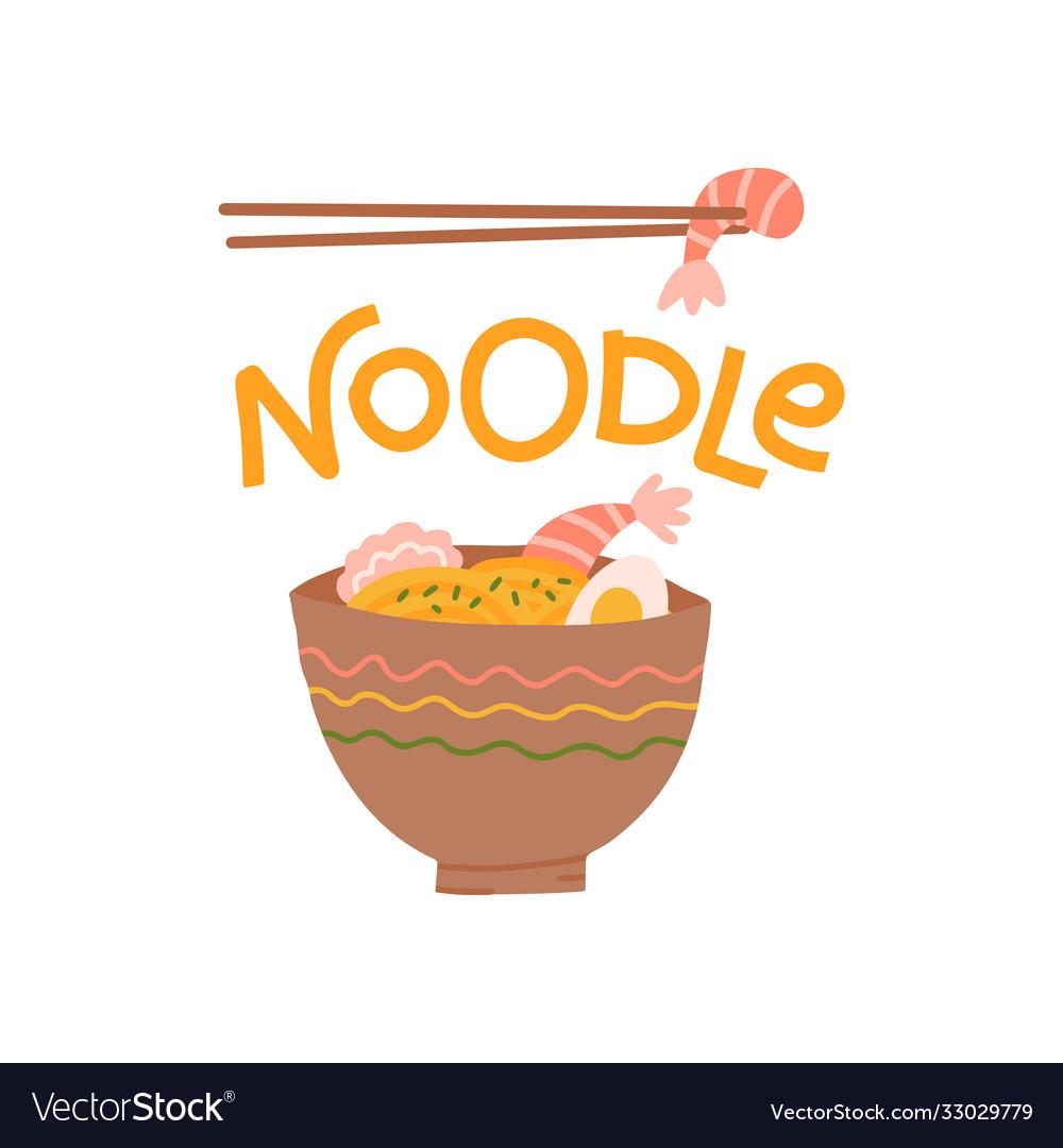 Lettering noodle print design with a noodle plate