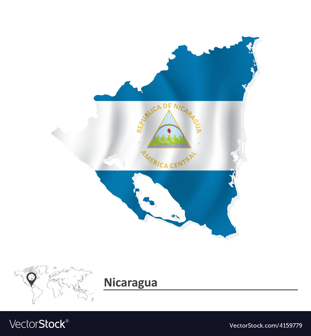 Map of Nicaragua with flag