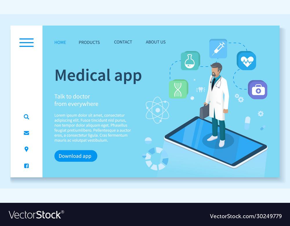 Medical app healthcare service landing web page