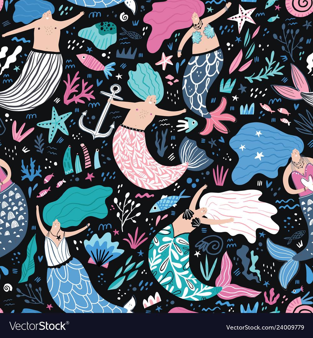 Mermaid flat hand drawn seamless pattern