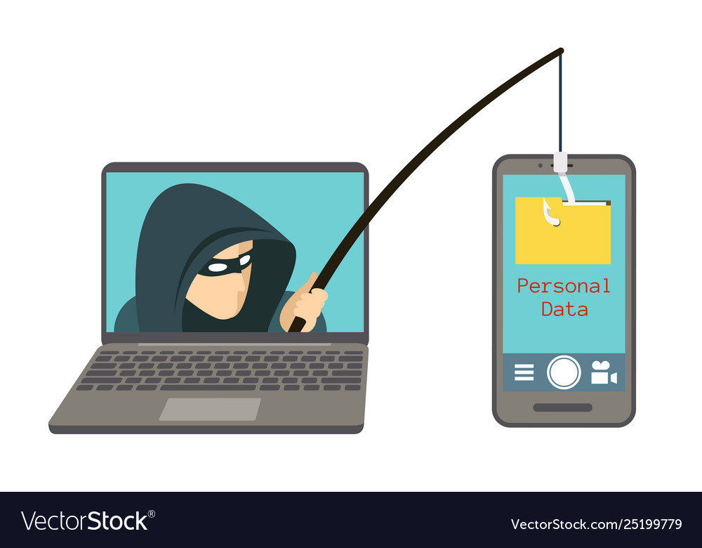 Phishing scam hacker attack on smartphone