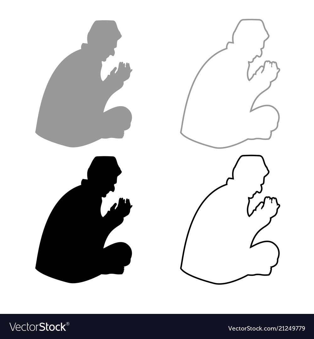 Praying muslim icon outline set grey black color