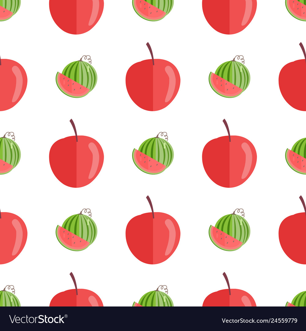 Seamless pattern with red apples and watermelons