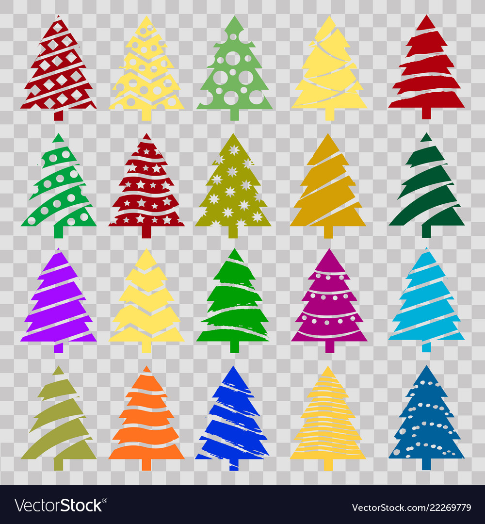 Colorful Christmas Tree Vector.Set Of Colorful Christmas Trees