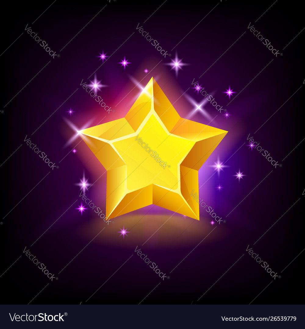 Shining yellow star with sparkles slot icon for