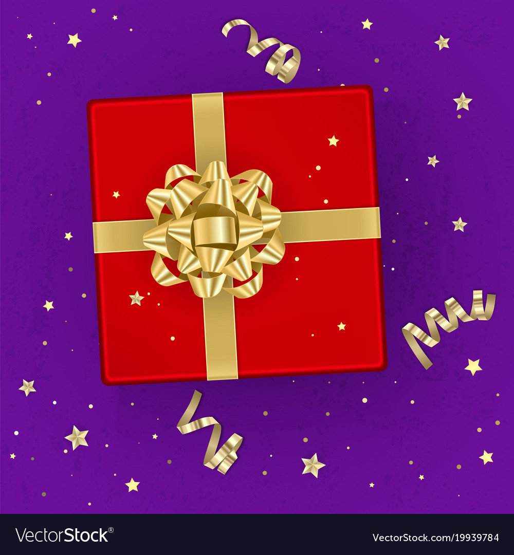A realistic red gift box decorated with a gold bow
