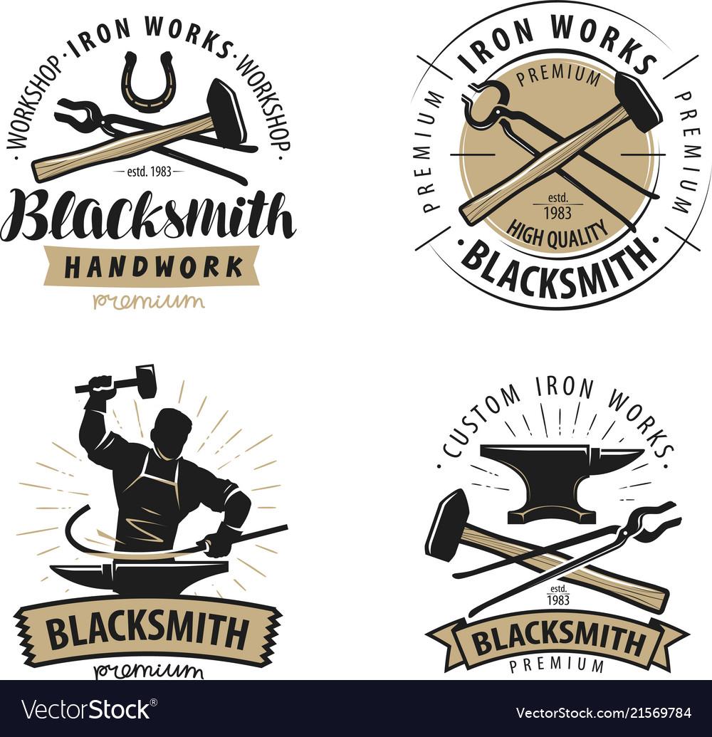 Blacksmith forge logo or label blacksmithing