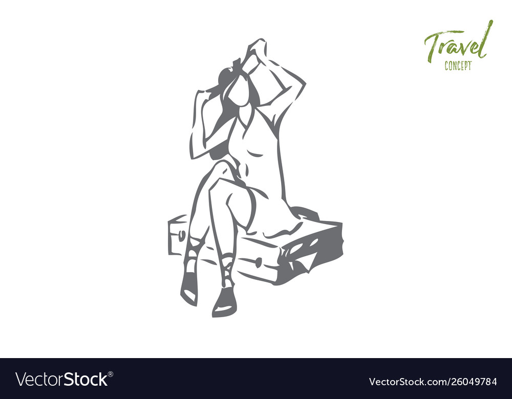 Girl sitting on full suitcase concept sketch