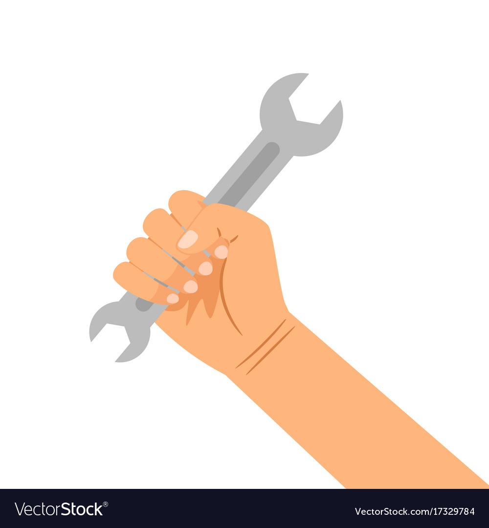 Hand with wrench isolated on white