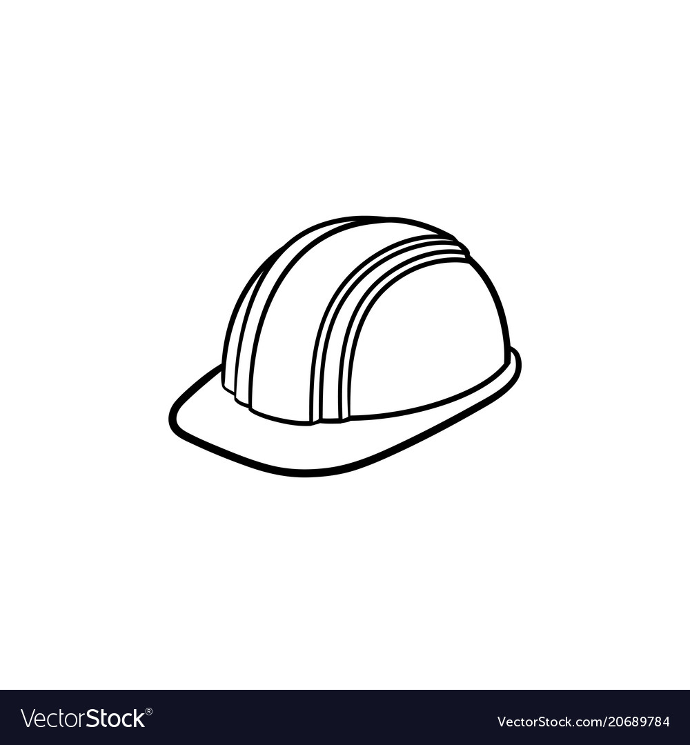 Hard hat hand drawn sketch icon