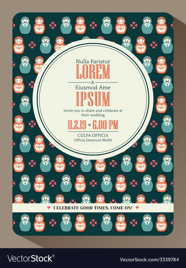 Modern hipster wedding invitation card design vector image