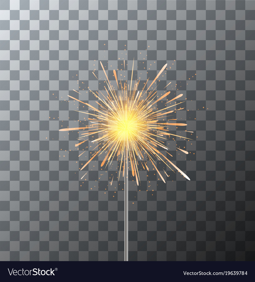 Modern sparkler on transparent background