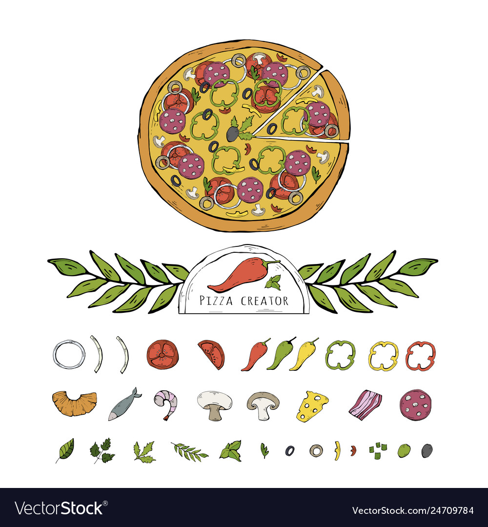 Pizza setcollection isolated on a white