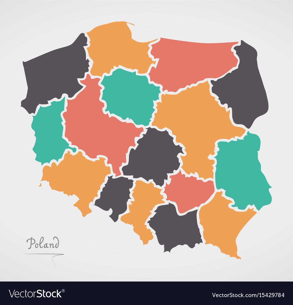Poland map with states and modern round shapes vector image gumiabroncs Choice Image