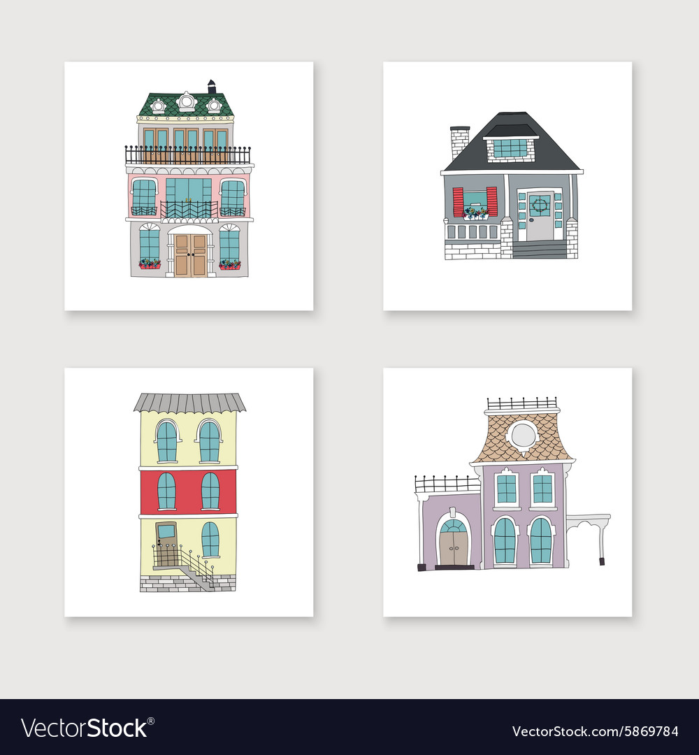 Set of hand drawing vintage houses
