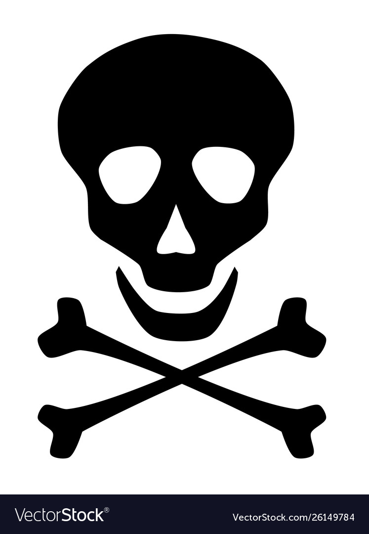 Skull and cross bones icon symbol on white