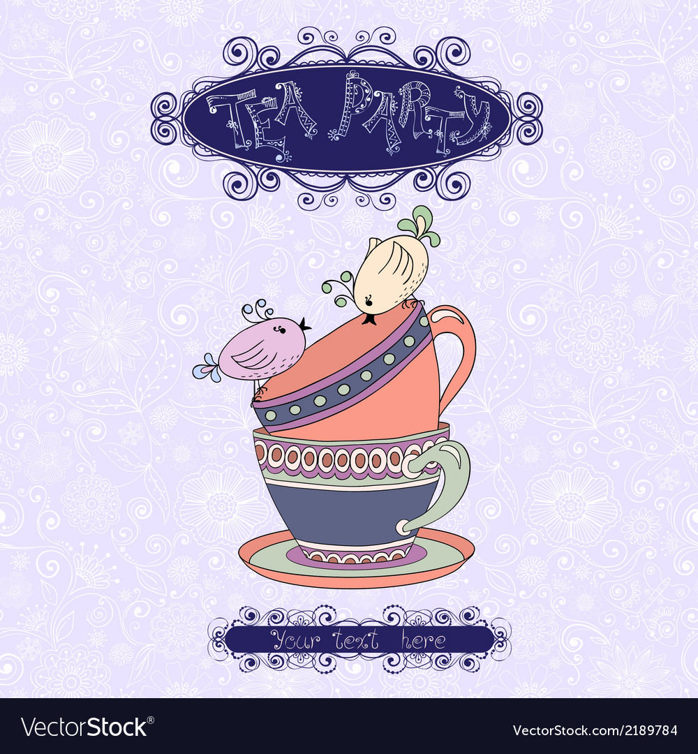 Tea party invitation card with cups and birds