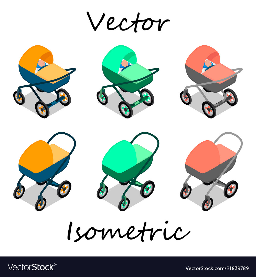 Baby carriages in isometrics in different angles