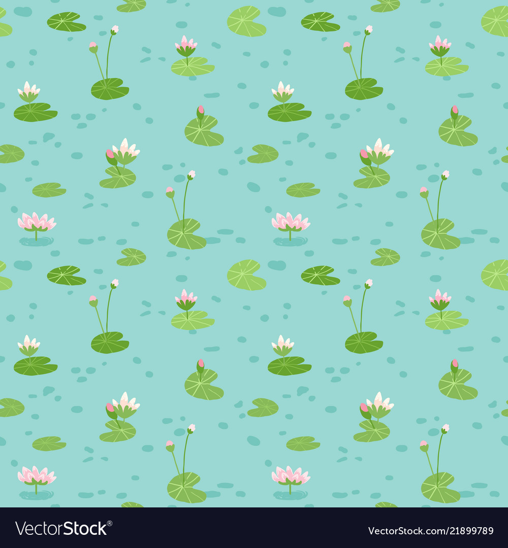 Beautiful seamless pattern with water lilies
