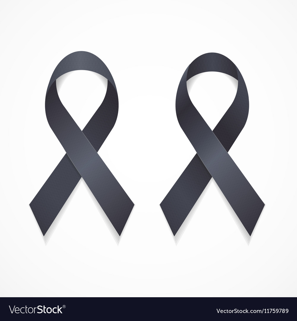 Black Ribbon Mourning and Melanoma Sign Set
