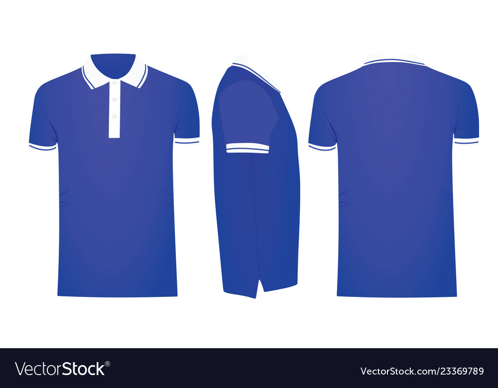 Blue Polo T Shirt Template Vector Image
