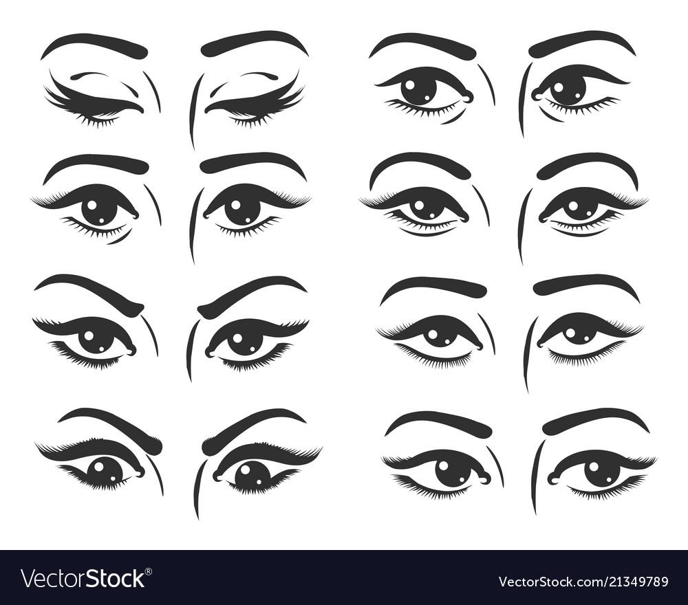 Female eyes expressions set