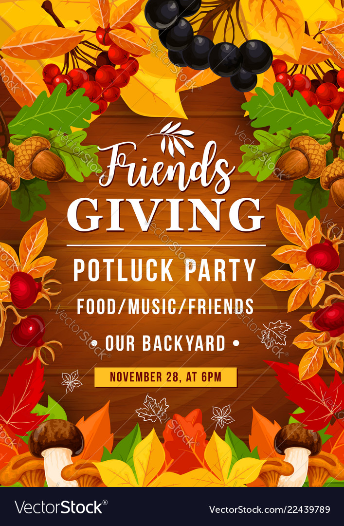 Friendsgiving potluck party of thanksgiving day