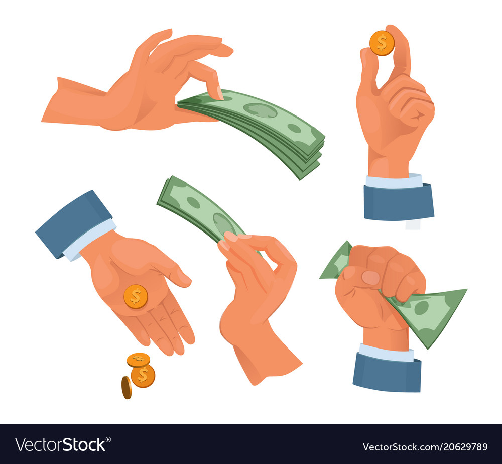 Hands holding money set in cartoon style
