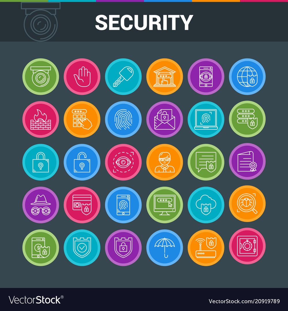 Icons set on security