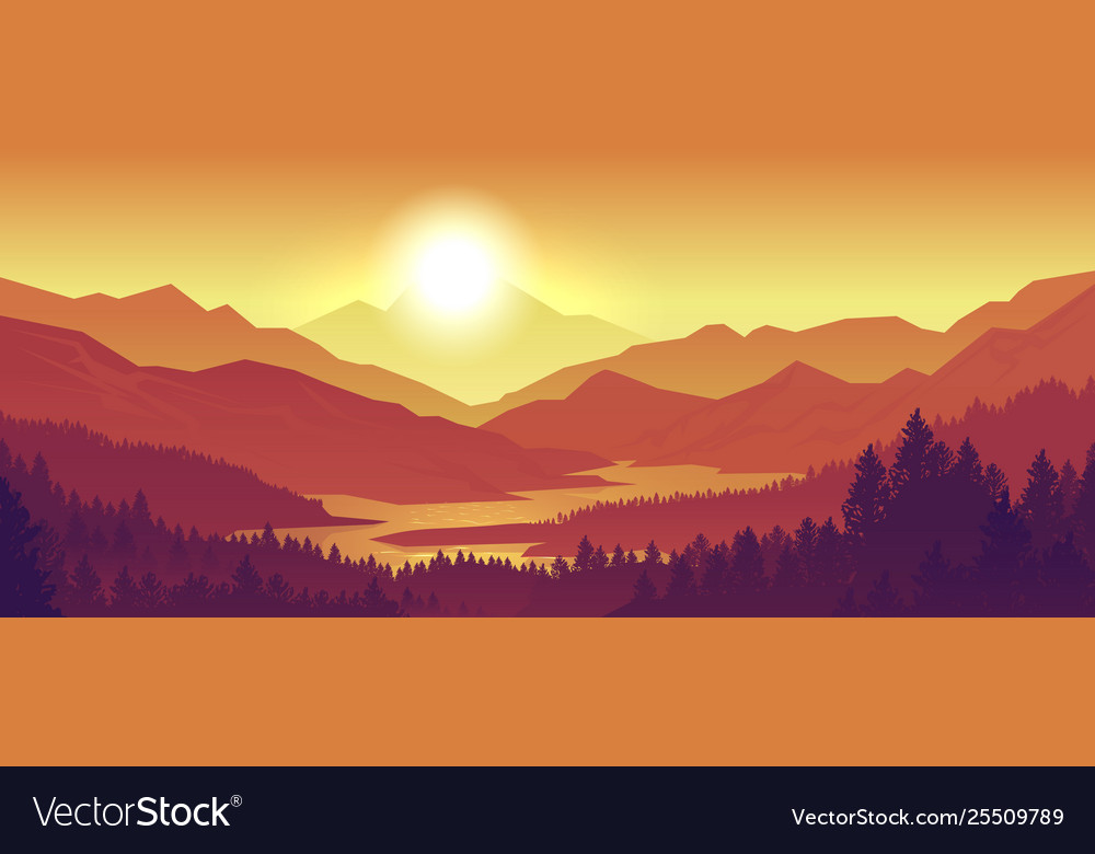 Mountain sunset landscape realistic pine forest
