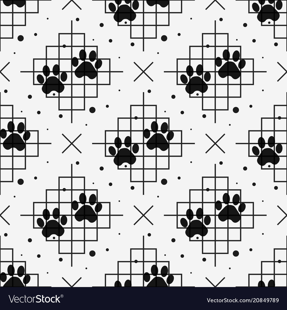 Paw print seamless with line texture traces of