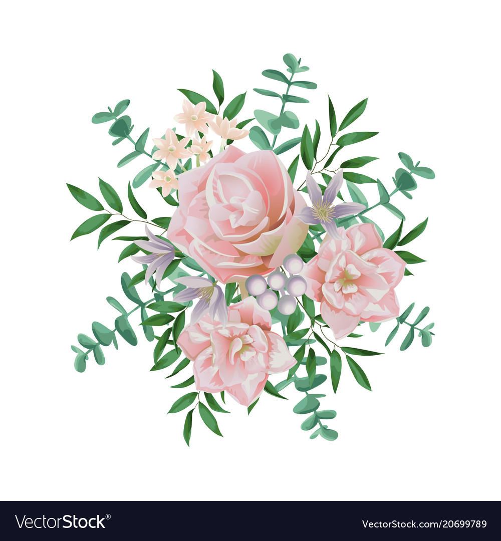 Pink Flower Bouquet Royalty Free Vector Image Vectorstock